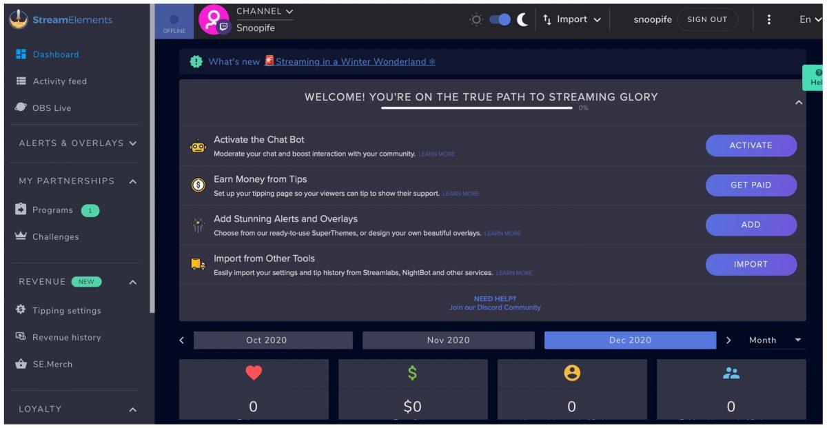 Qu'est-ce-que StreamElement - Dashboard